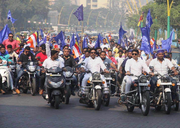 Dalit protesters take part in a bike rally on the Eastern