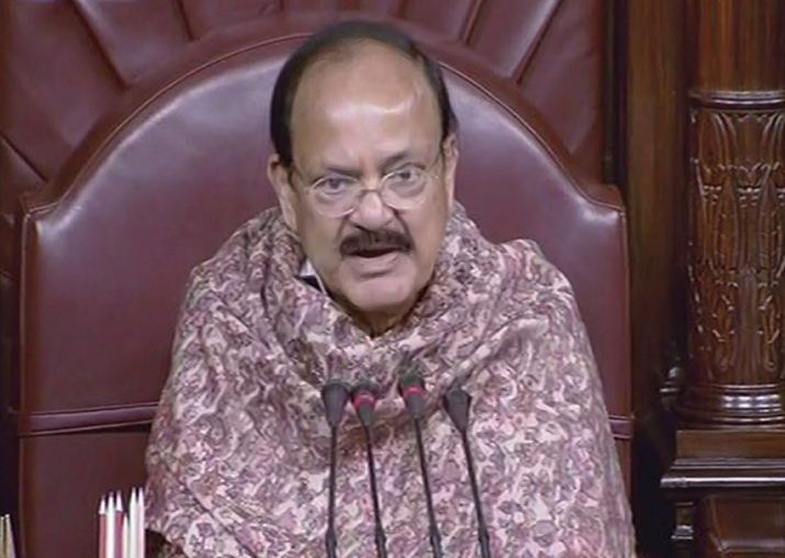 Rajya Sabha Chairperson Venkaiah Naidu speaks in the Rajya