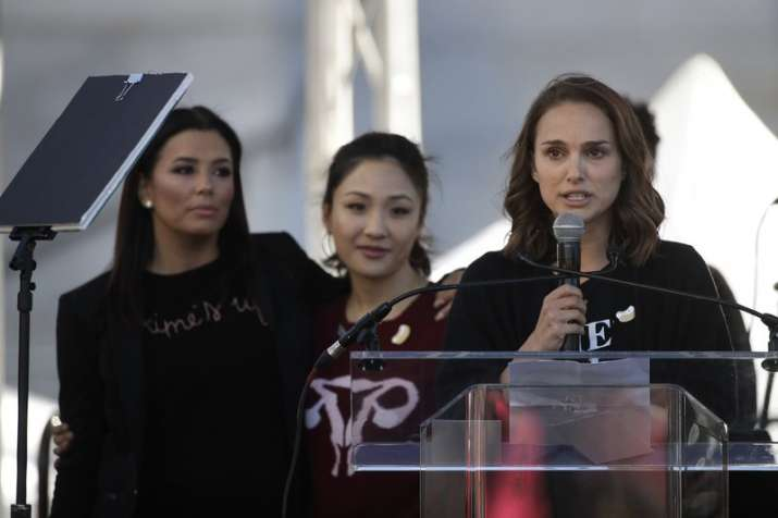 India Tv - Actress Natalie Portman speaks as she is joined by Eva Longoria and Constance Wu at a Women's March against sexual violence and the policies of the Trump administration in Los Angeles.