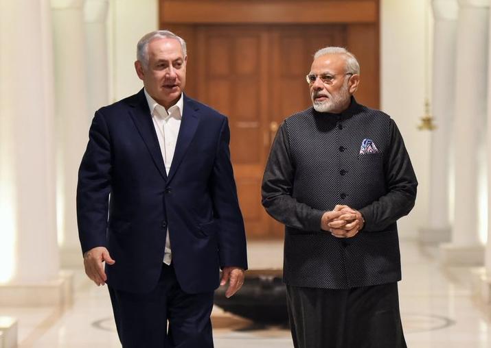 Israeli PM Benjamin Netanyahu and PM Narendra Modi at 7,