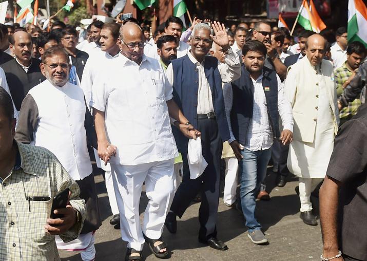 Sharad Pawar, D Raja, Sharad Yadav, Hardik Patel and Dinesh