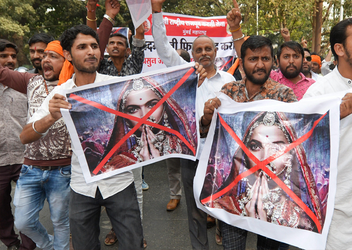Karni Sena activists protest over the clearance of film