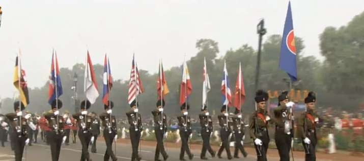 India Tv - Contingent of Rajputana Rifles regiment carrying ASEAN flags at R-Day parade