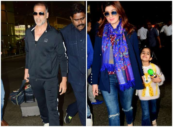 Nitara travels with father Akshay Kumar and mother Twinkle