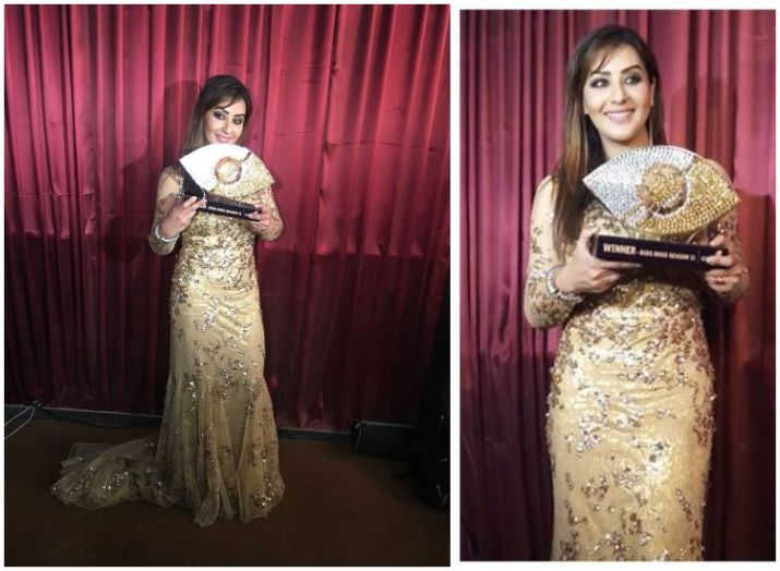 India Tv - Shilpa Shinde with Bigg Boss trophy (PC: Twitter)