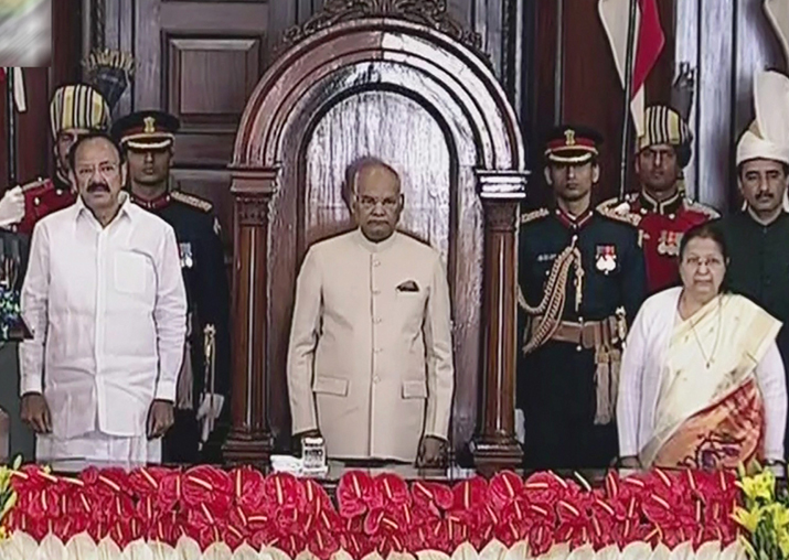 President Ram Nath Kovind flanked by Rajya Sabha