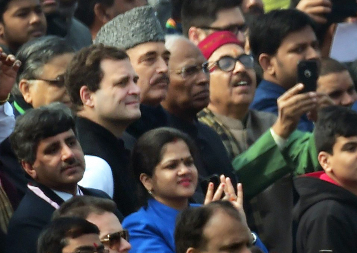 Rahul Gandhi with Ghulam Nabi Azad during 69th Republic Day