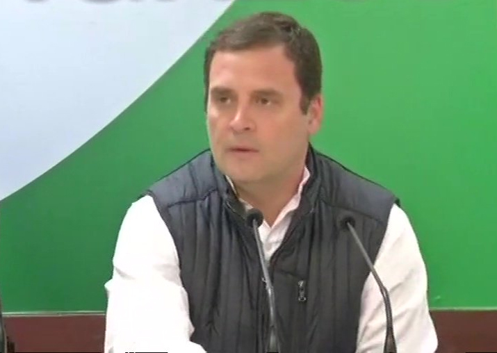 Congress president Rahul Gandhi addresses media in New