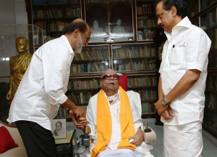 Rajinikanth met DMK chief M Karunanidhi at his residence