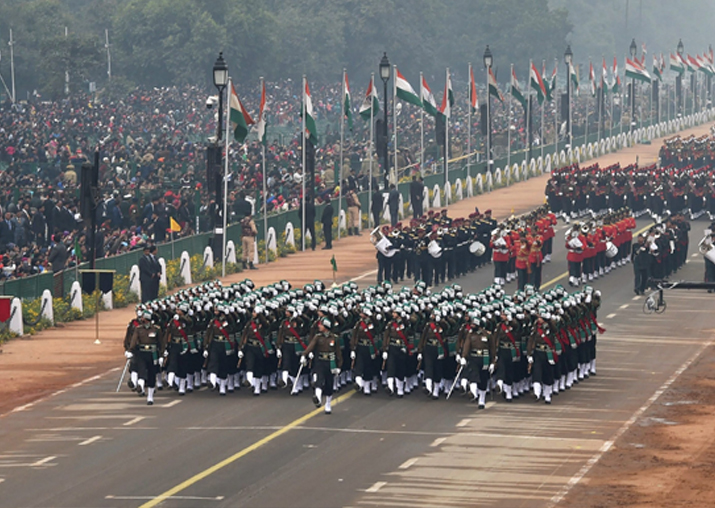 India Tv - Contingents march past at Rajpath during the full dress rehearsal for the Republic Day Parade in New Delhi on Tuesday