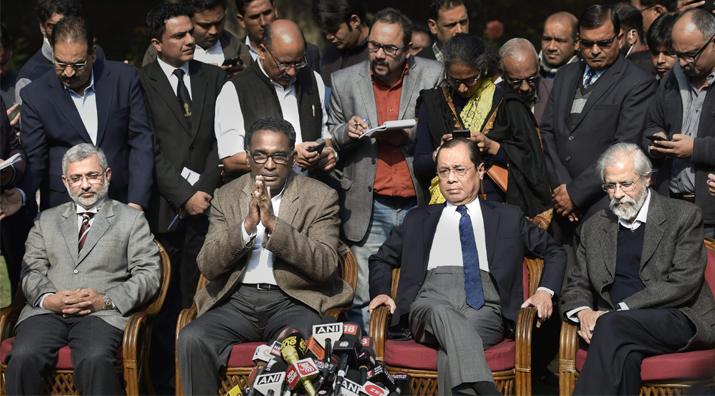 India Tv - Supreme Court judge Jasti Chelameswar along with other judges addresses a press conference in New Delhi on Friday