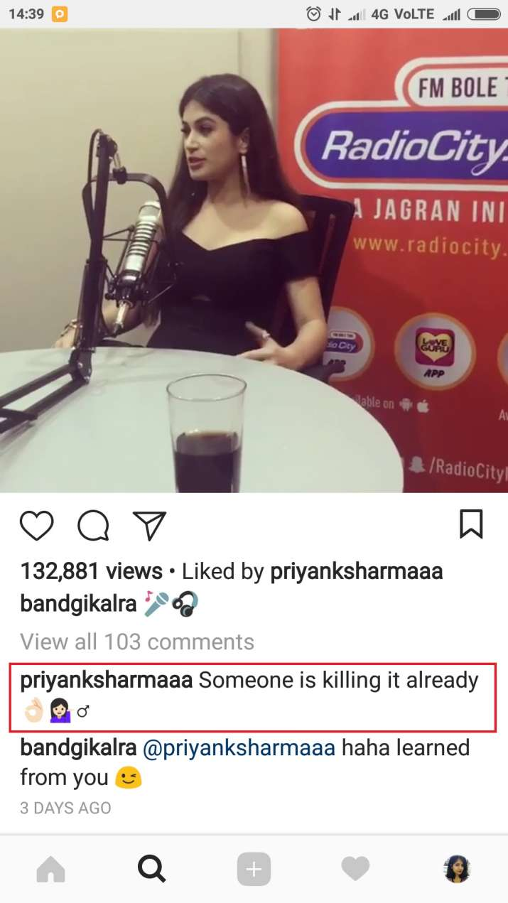 India Tv - Priyank Sharma's comment on Bandgi Kalra's picture