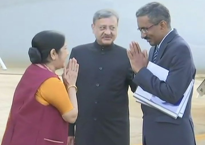 Sushma Swaraj arrives in Thailand on first leg of three
