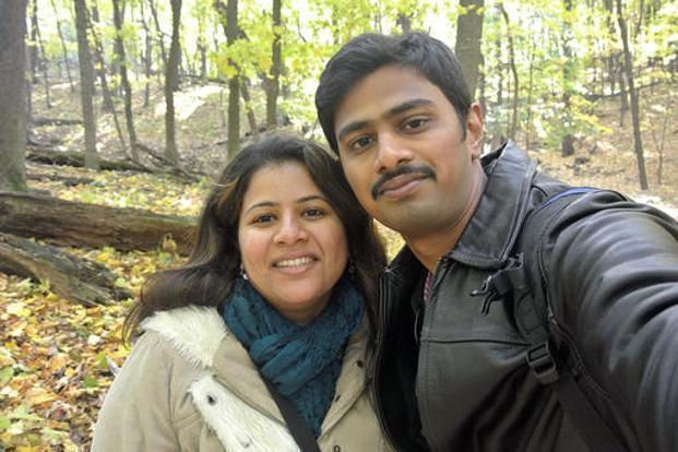 An undated photo of Srinivas Kuchibhotla (right) with his