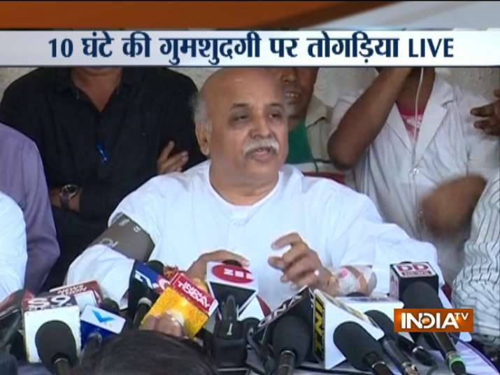 Pravin Togadia addressing a press conference in Ahmedabad