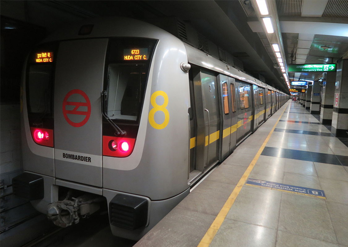 Delhi Metro's Yellow Line service from HUDA City Centre to