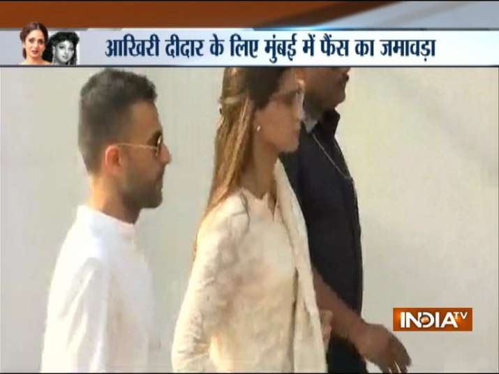 India Tv - Deepika Padukone among celebrities reaching Celebrations Sports Club to pay their last respects to Sridevi