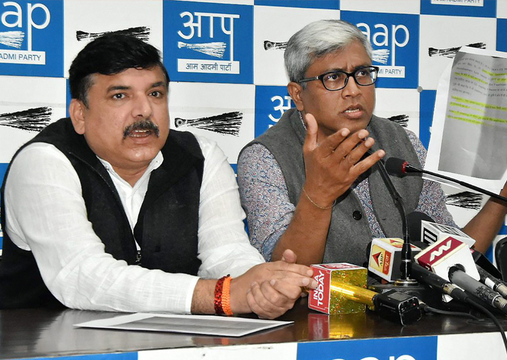 AAP Rajya Sabha MP Sanjay Singh with party's spokesperson