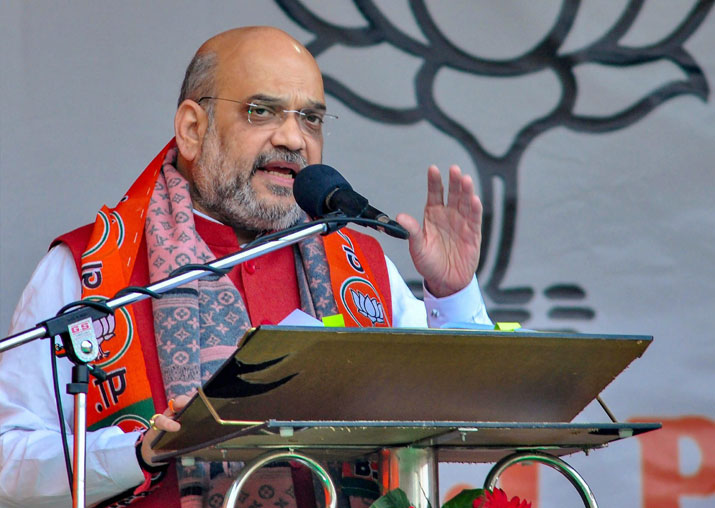 BJP President Amit Shah addresses a rally during a campaign