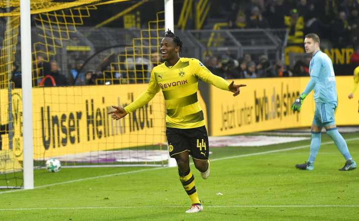 India Tv - Michy Batshuayi celebrates after scoring for Dortmund