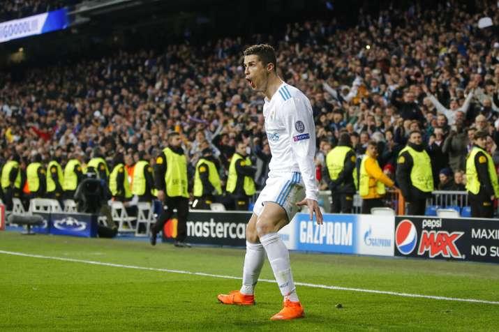 India Tv - Ronaldo celebrates after scoring for Madrid
