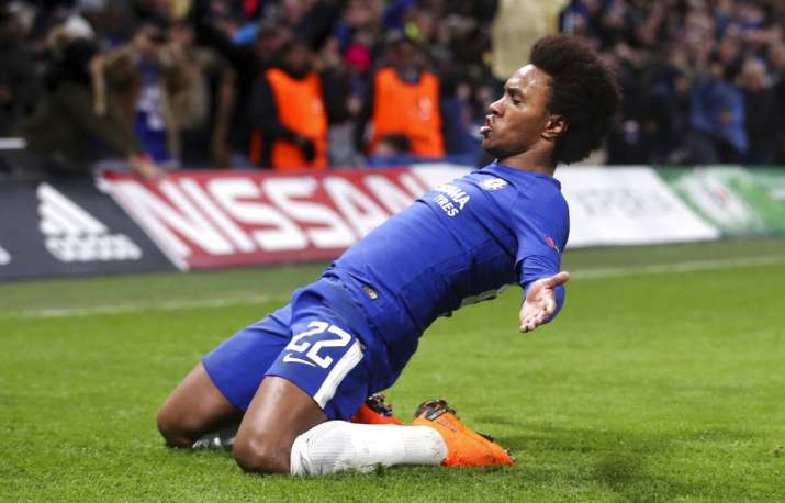 India Tv - Chelsea's Willian celebrates after scoring.