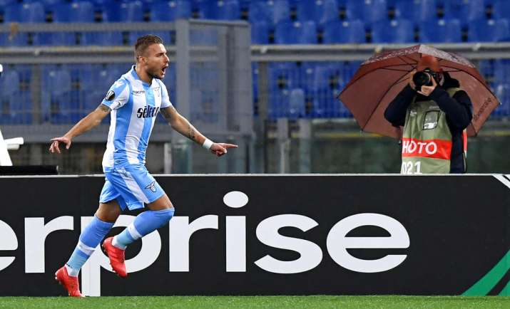 India Tv - Lazio's Immobile celebrates after scoring.