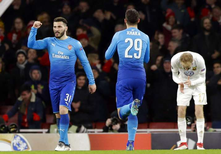 India Tv - Saed Kolasinac celebrates after scoring for Arsenal