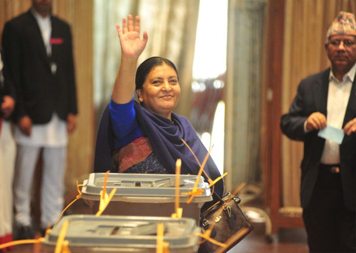 File pic - Nepal President Bidhya Devi Bhandari