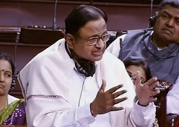 P Chidambaram speaks in the Rajya Sabha during the ongoing