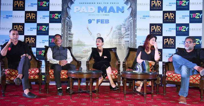 India Tv - PadMan actors, producer, director and Arunachalam Muruganantham at Delhi press conference