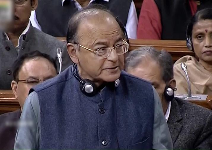 Finance Minister Arun Jaitley speaks in the Lok Sabha in