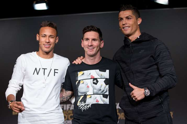 India Tv - A file image of Neymar, Messi and Ronaldo