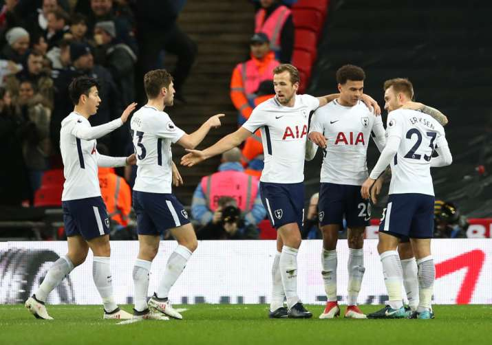 India Tv - Spurs players celebrate after scoring.