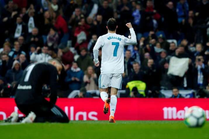 India Tv - Ronaldo celebrates after scoring.