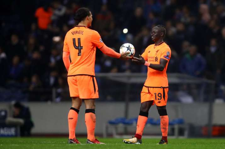 India Tv - Liverpool's van Dijk hands Mane the match ball for his hat-trick