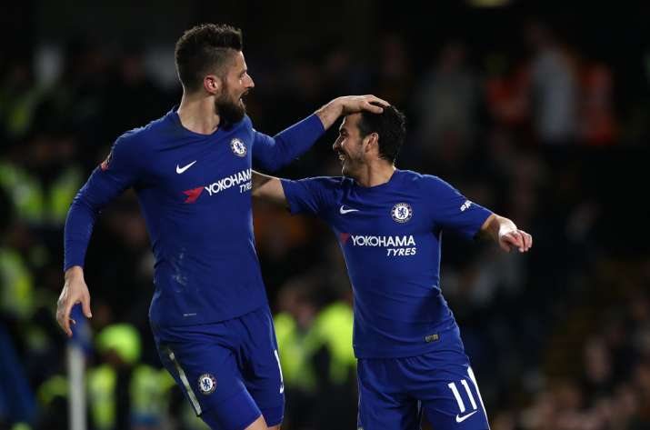 India Tv - Olivier Giroud celebrates with Pedro in the FA Cup