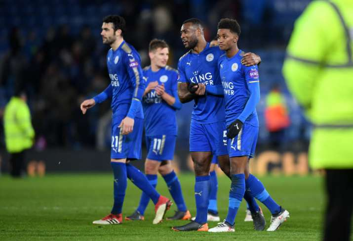 India Tv - Leicester City players celebrate after scoring
