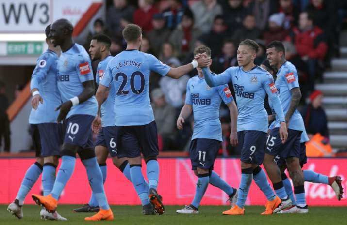 India Tv - Newcastle players celebrate after scoring