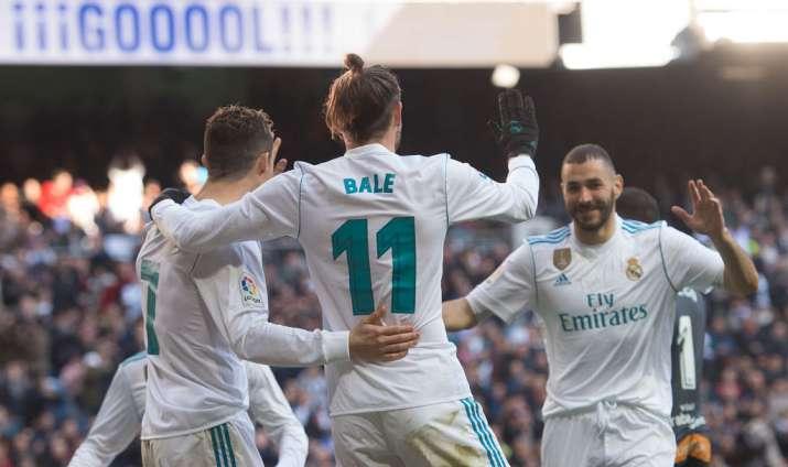 India Tv - Bale, Ronaldo and Benzema celebrate after scoring