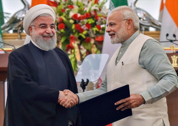 PM Narendra Modi with Iranian President Hassan Rouhani at