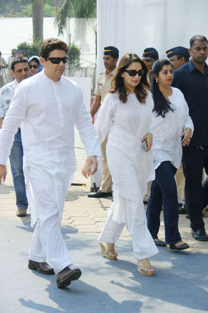 India Tv - Madhuri Dixit arrived at Celebrations Sports Club with husband