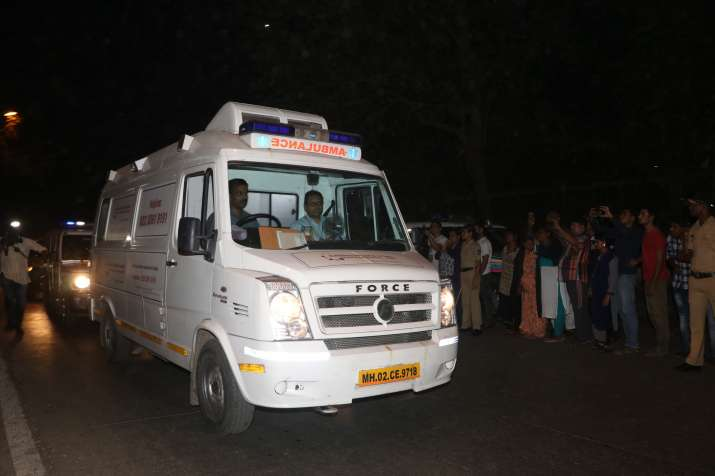 India Tv - As the ambulance entered her residence in suburban Andheri, a large number of fans jostled for a glimpse of their favourite actor.