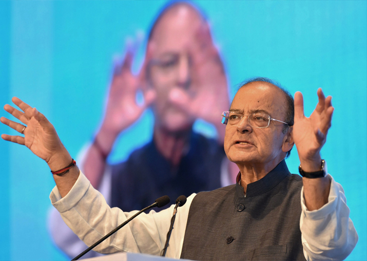 Finance Minister Arun Jaitley gestures as he speaks during