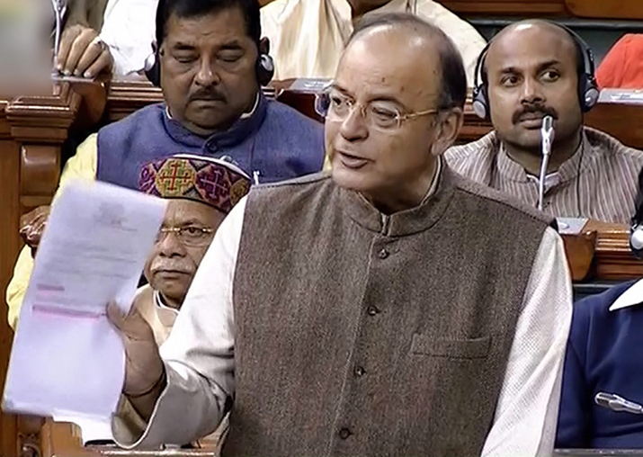 Union Finance Minister Arun Jaitley speaks in the Lok Sabha