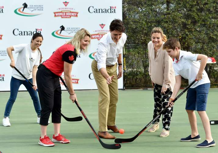 India Tv - Trudeau, his wife and children play along