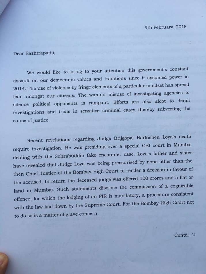India Tv - Letter issued by opposition MPs