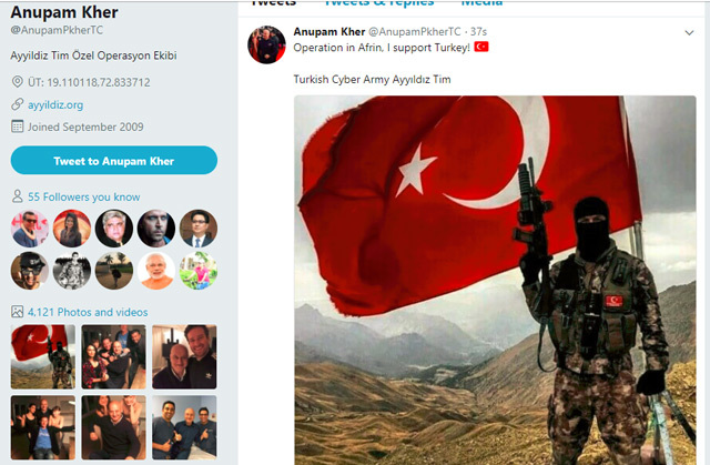 India Tv - Turkish cyber army posted cryptic tweets from Anupam Kher's account.