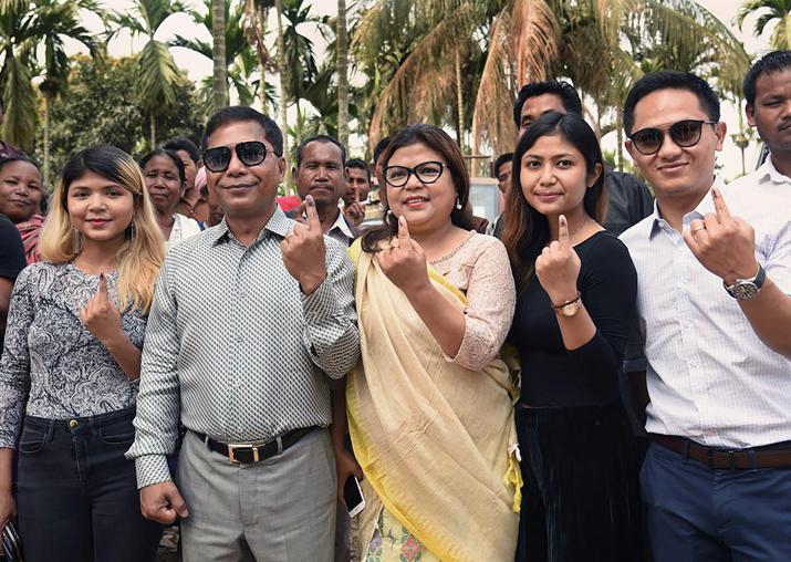 Meghalaya CM Mukul Sangma and his family members show their