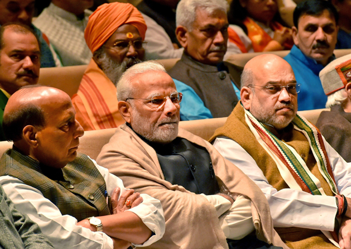 PM Narendra Modi with Amit Shah, Rajnath Singh at the BJP